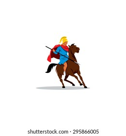 Ancient Greek warrior on horseback, preparing to fight or fight.  Branding Identity Corporate logo design template Isolated on a white background