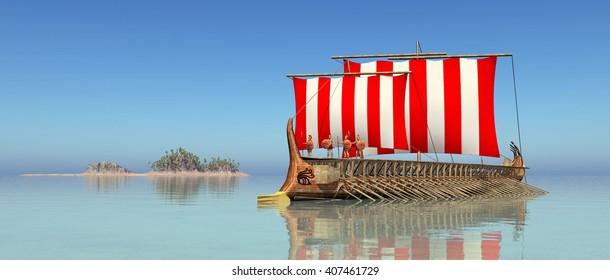 Ancient Greek Warship Computer generated 3D illustration
