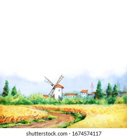 Ancient Holland old city scene picture sketch white paper text space. Blue sunny day. Dirt path way scenery. Golden dry ripe ear garden grow bush. Bright  color antique Dutch town barn hut scenic view