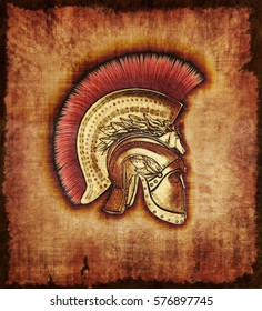 An ancient Hoplite Warrior helmet on parchment - 3d render with digital painting.