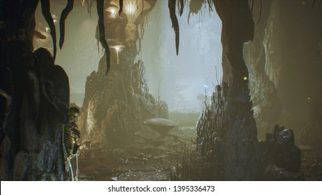 Ancient huge fantasy cave filled with ancient mushrooms and magical fog with dust. 3D Rendering