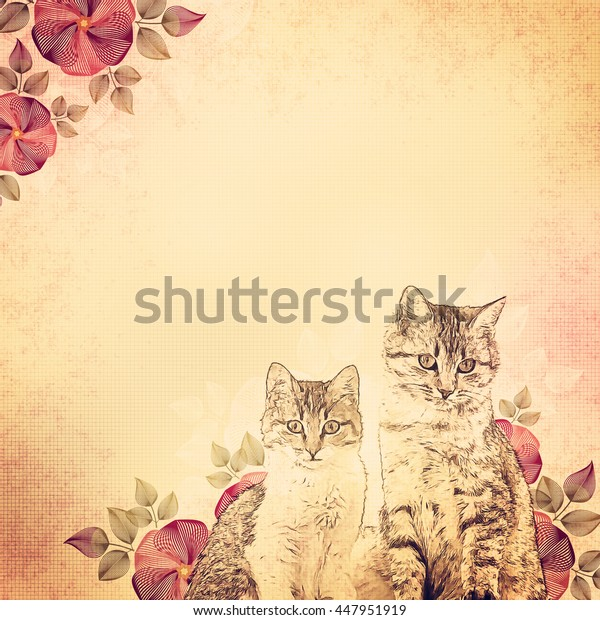 ancient-illustration-kittens-flowers-bei