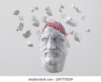 ancient man with wires in his head, 3d illustration