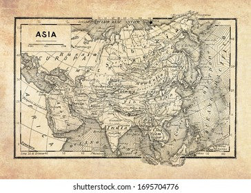 Ancient map of Asian continent and the oceans surrounding it with geographical Italian names and descriptions