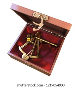 Ancient marine device bronze navigation Sextant Astrolabe, isolate on white background. 3d illustration