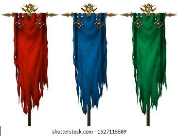 Ancient medieval banners set isolated on white background - 3D illustration