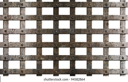 ancient metal cage isolated on white