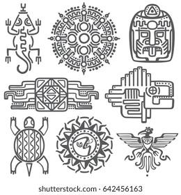 Ancient mexican mythology symbols. american aztec, mayan culture native totem patterns. Aztec and mexican tattoo, illustration of mayan symbol tattoo