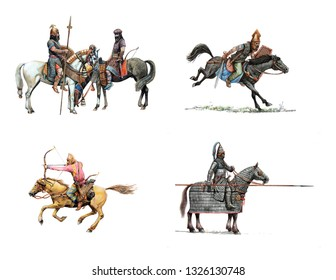 Ancient mounted warriors. Set of 4 isolated historical illustration.