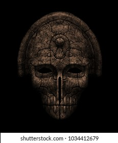 Ancient mystical ritual mask of death. graphic illustration on black background