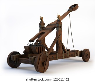 An ancient Norman Catapult isolated on a white background. Clipping path is included.