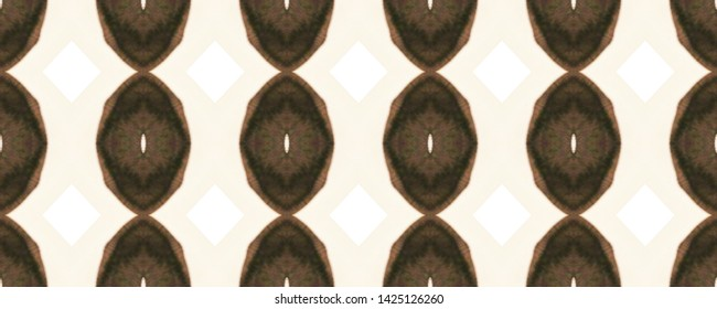 Ancient ogee pattern. Simple tie dye ornament. Primitive geo motifs. Vintage shibori design. Brown and white seamless ikat textile. Ethnic boho rug. Grunge abstract background. Tribal ogee pattern