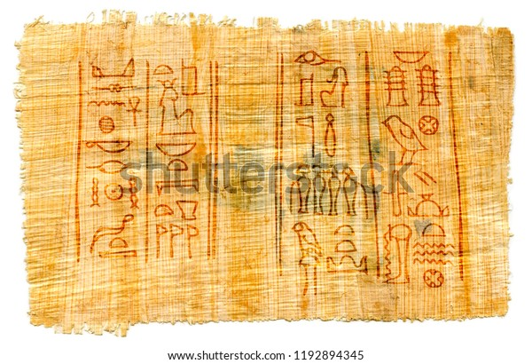 Ancient Papyrus Egyptian Hieroglyphs Names Great Stock