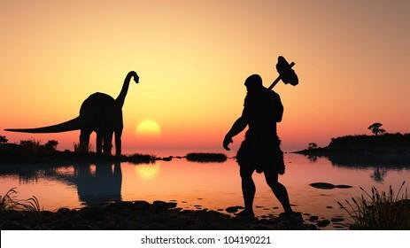 Ancient people against the evening landscape.