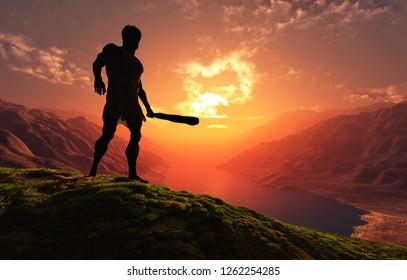 Ancient people against the evening landscape..3d render