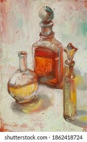 Ancient perfumes bottles, original artwork, oil on canvas painting