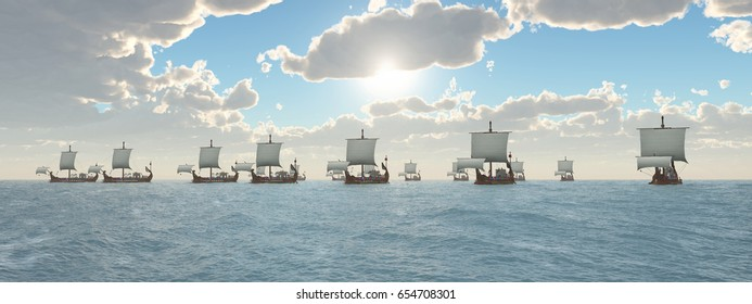 Ancient Roman Warships Computer generated 3D illustration