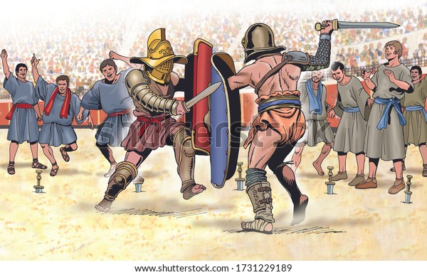 Ancient Rome - Fight between gladiators incited by increpatores