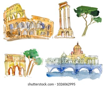 ancient rome - hand drawn set. Watercolor painting on white.