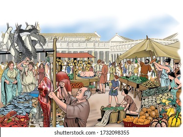 Ancient Rome - The meat and fruit market