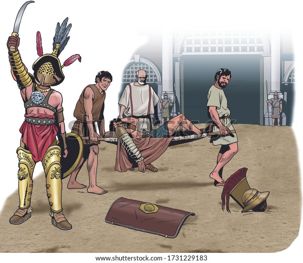 Ancient Rome - Victorious gladiator and wounded gladiator transported on a stretcher