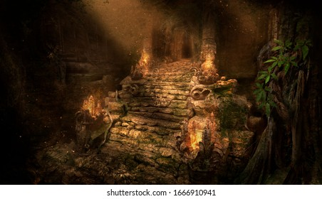 The ancient ruins of the temple in the jungle, lit by the rays of the sun, an old stone covered with roots and moss, along the stairs leading to the entrance fire burns. 2d illustration.