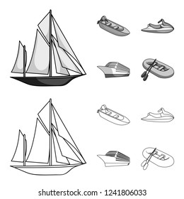 Ancient sailboat, motor boat, scooter, marine liner.Ships and water transport set collection icons in outline,monochrome style bitmap symbol stock illustration web.