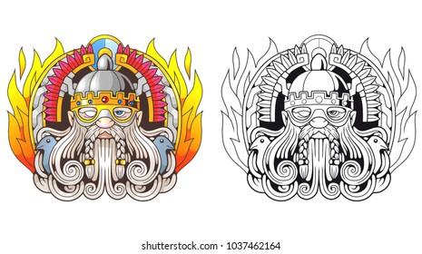Ancient Scandinavian God Odin, illustration