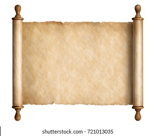 Ancient scroll parchment with wooden handles isolated 3d illustration
