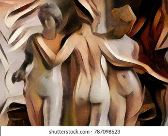 Ancient sculptures in a modern design oil painting on canvas. Applied elements of painting with pastels and pencil. Suitable for interior decoration and gift.
