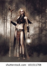 Ancient sorceress with a lamp and staff in a dark forest at night. 3D illustration.