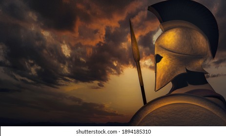 Ancient Spartan (Greek) warrior 3D illustration concept. A background with copy space for text ideal for TV documentaries, history information etc.