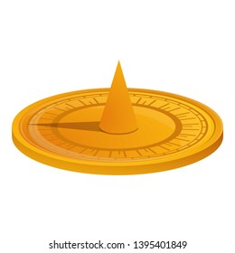 Ancient sundial icon. Cartoon of ancient sundial icon for web design isolated on white background