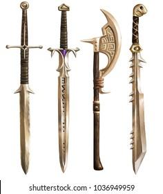 Ancient swords and ax. Fantasy. Set