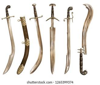 Ancient swords and saber. Realistic. fantasy. Set