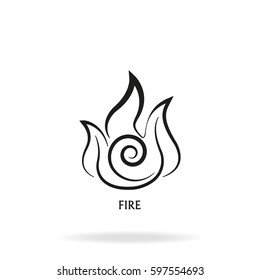 Ancient symbol of Fire element with subscribe.