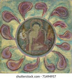 Ancient tibetan mural of Buddha in a mixed media collage.