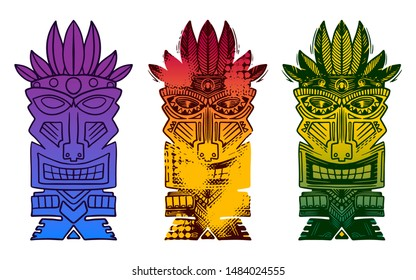 Ancient Tiki idols color hand drawn illustrations set. Antique African tribal face mask isolated gradient cliparts pack. Aztec ethnic statue, national and religious totem design elements collection