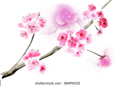 Ancient Traditional Artistic plum blossom and fractals