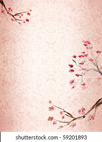 Ancient Traditional Artistic plum blossom on background a rice-paper. An enough place is for inscriptions