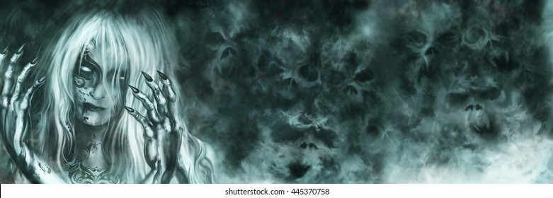 Ancient Vampire Goddess banner. Illustration mysterious woman with painted face and bloody hands. Mist like ghost skulls on the background