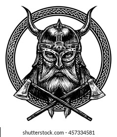 Ancient viking head  in a ring with scandinavian ornament logo for mascot design. Graphic illustration. The ax , helmet with horns. North warrior. Celtic ornament