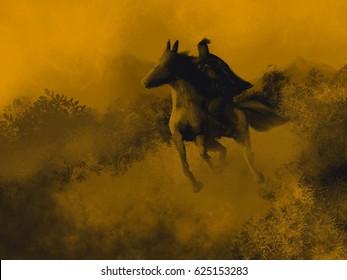 Ancient Warrior Mounted on Horse Running Dawn Scene Illustration