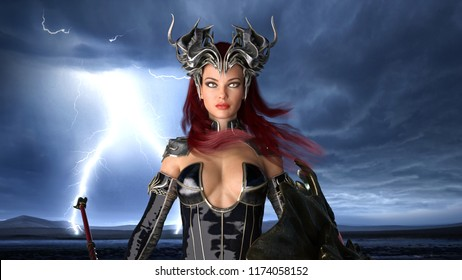 Ancient warrior queen, female fantasy fighter in battle armor with crown, portrait, 3D rendering