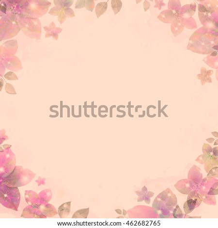 Ancient water color vignette, flickering flowers, cream. Retro background, vintage style. Basis for design or text.