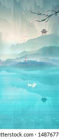 The ancient wind girl enjoys the beautiful scenery in the outdoor tourism the flowers in front of the pavilion fall to the lake on the surface of the Chinese landscape painting illustration poster