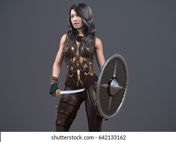 ancient woman with sword and shiels - 3d rendering