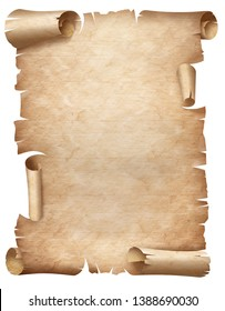 Ancient worn parchment vertical illustration isolated on white