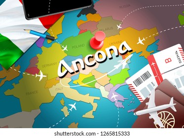 Ancona city travel and tourism destination concept. Italy flag and Ancona city on map. Italy travel concept map background. Tickets Planes and flights to Ancona holidays Italian vacation