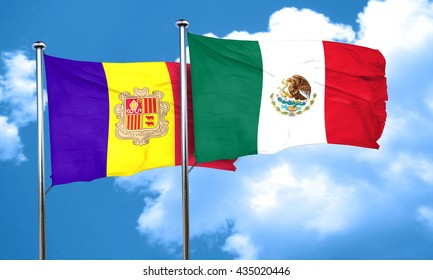 Andorra flag with Mexico flag, 3D rendering
